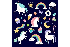 Unicorn and girlish elements rainbow