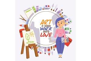 Artist vector artistic girl