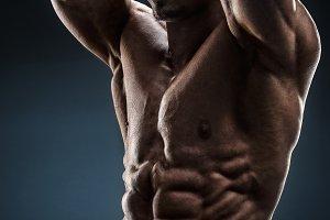Shirtless bodybuilder