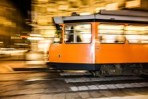 Tram in the city