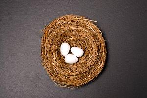 Easter nest and white eggs