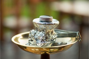 Modern hookah with coconut charcoal
