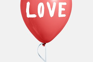 Red valentines day love balloon