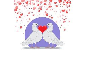 Valentine Greeting Card Doves Love
