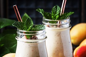 Healthy apricot smoothies with fresh
