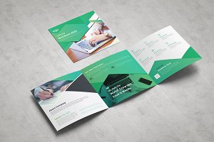 Green Square Trifold Brochure