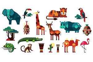 Geometric Flat Africa Animals