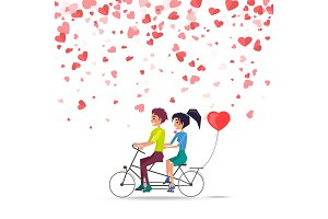 Man and Woman Riding on Bike with