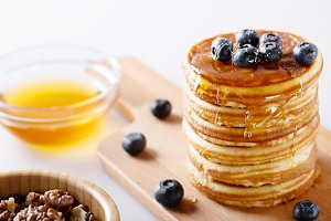 Fresh homemade pancakes with blueber