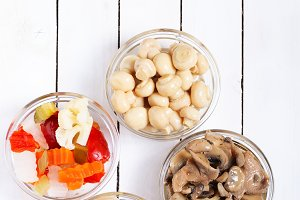 Variety of foods pickled or in oil o