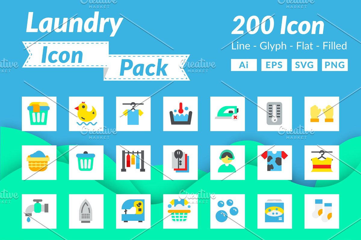 200 Laundry Icon Pack