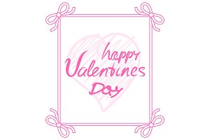 Happy Valentines Day Pink on Vector