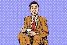 Man drinking coffee or tea