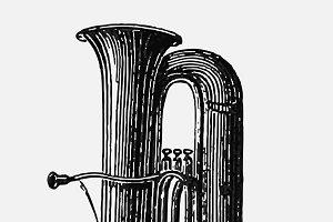 Vintage trumpet illustration