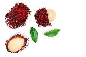 rambutan with leaves isolated on