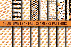 Autumn Leaf Fall Seamless Patterns