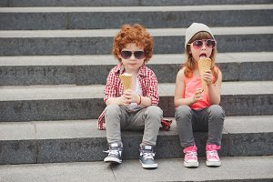 happy boy and girl with icecream