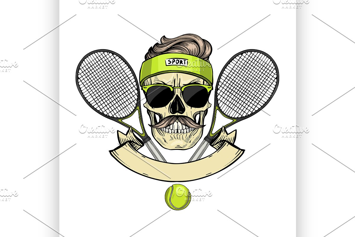 a08f2f4e44b Skull with tennis racquets ~ Illustrations ~ Creative Market
