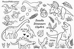 Doodle Dinosaur Clipart
