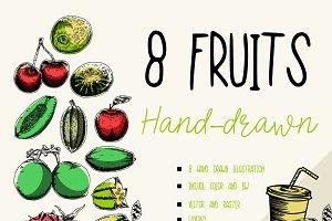 8 Fruits hand drawn #2