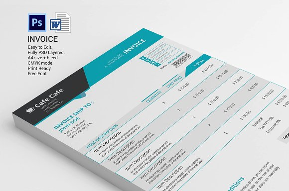 business invoice template stationery templates creative market