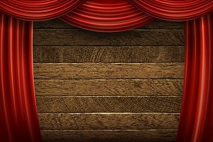 Red curtains on wooden background.