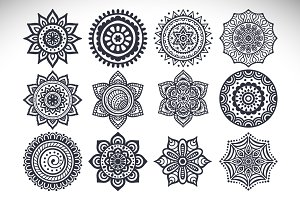 12 Vector mandalas + Seamless patter