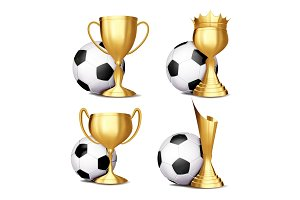 Soccer Game Award Set Vector