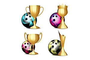 Bowling Game Award Set Vector