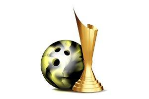 Bowling Game Award Vector. Bowling