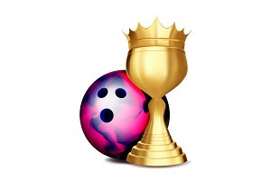 Bowling Award Vector. Bowling Ball