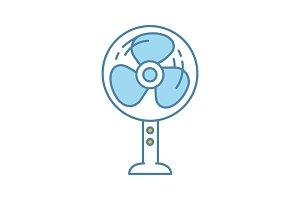 Stand floor fan color icon
