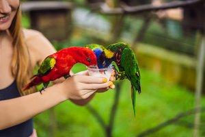 Young woman feeding big tropical
