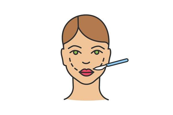 Cheek lift surgery color icon