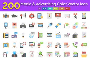 200 Media & Advertising Icons Pack