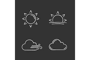 Weather forecast chalk icons set