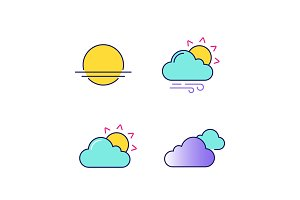 Weather forecast color icons set