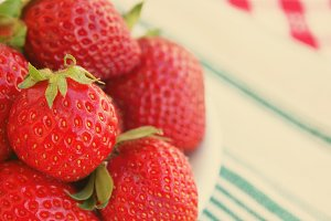 Strawberries macro closeup