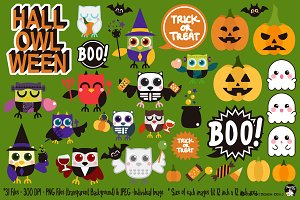 Hall-OWL-Ween Digital Clipart