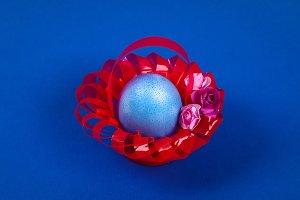 Diy Easter egg basket made of red pl