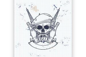 Sketch, french skull