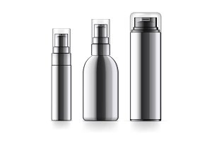 Realistic black Cosmetic bottle