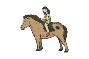 Child girl on pony color engraving