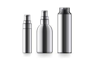 Realistic black Cosmetic bottles