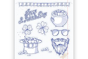 Stickers set for Saint Patricks Day