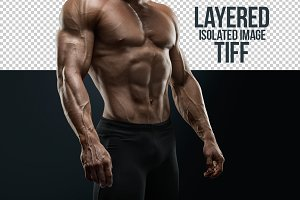 Muscular young bodybuilder (layered)