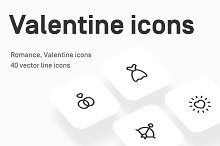 Valentine's Day vector line icons