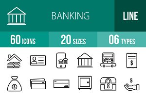 60 Banking Line Icons