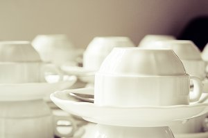 White dishware cup