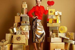 smiling modern fashion-monger showin